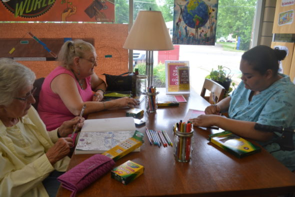 Adults gathered at the West Lafayette Library to color during their event, Keep Calm and Color On, on Thursday, June 8 from 5 – 7 p.m. Beth Scott | Beacon