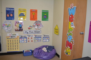 A new Head Start site opened in the Coshocton County Career Center building this school year and has about 19 students ranging in age from 3 to 5. Here is the Quiet Area where kids can go if they are having a bad day and either be alone to talk with one of the teachers or helpers about why they are upset.