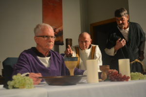 Prairie Chapel United Methodist Church will have a live performance of the Last Supper on Maundy Thursday, April 13 at 7 p.m. in the sanctuary. Pictured are Pastor Dail Parrish as Jesus, Leonard Cognion as Thomas and Clarence Fisher as Philip. Beth Scott | Beacon