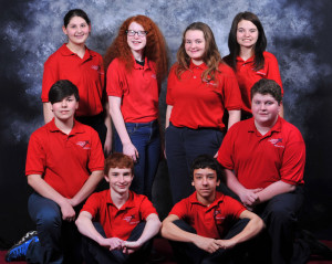 Singers: Nine eighth grade singers will perform in their final concert with The Coshocton Children's Choir on Sunday, April 26, at the Coshocton Community Choir's Day by Day concert. Pictured from left in the top row are: Annie Bosson, Sarah Heading, Kenzie Potter and Chloe Fulton; front row - Tyler Phillips, Justin Conner, Kyle Moses and Jake Reveal; and not pictured is Josie Fornara. Photo contributed to The Beacon by Digital Extreme Photography