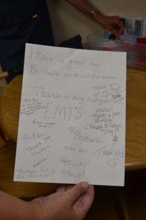 One of the notes that is shared by CRMR employee Shikara Robbins and Coshocton County Emergency Medical Services crews in the new EMS room at the hospital.