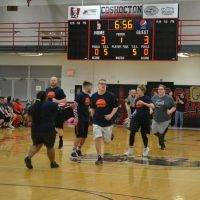 Hopewell Indians take on staff in basketball game