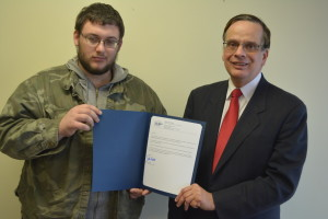 Presentation: James Stull, left, was presented March 3, with a letter of appreciation from Bob Kalish, regional liaison for Ohio Secretary of State Jon Husted. Beacon photo by Josie Sellers
