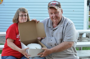 Sharry Chapman, who had the overall best of show coconut cake at last year's fair, is pictured with her brother Terry Thomas, who bought the cake.