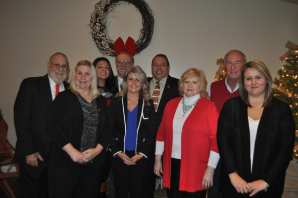 Pete Kopf from the OAR installed the 2017 slate of officers and new directors at the annual Coshocton County Board of Realtors awards dinner held Tuesday evening, Dec. 13 at the M Event Centre. Front row: Christi Olinger, Treasurer, Stephanie Conrad, board of directors, Marlene Griffith, Secretary, Sheila Shingleton, board of directors. Back row, Jim Nelson, President, Christina Humphreys, board of directors, Tom Dile, Past-President, Joe Scott, board of directors and Terry Longsworth, board of directors. Other directors not pictured: Curt Crouso, Todd Endsley, Heather LePage and Niza Rodriguez.