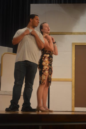 """Jadyn Cline and Morgan Lawrence practice a scene from """"Anything Goes."""" The River View High School Music Department will present the play at 7:30 p.m. Friday, April 28 and Saturday, April 29 in the school's auditorium. Josie Sellers 
