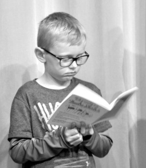 """Jared Collins is pictured during auditions for the youth production of """"Murder at the Goon Show,"""" which were held Saturday and Sunday, May 21 and 22 at the Triple Locks Theater. Thirty-seven area youth tried out for the production. Mark Fortune   Beacon"""