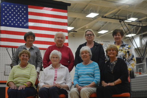 The Janusian Club purchased an 18x12 Patriot Motorized Flag for the gym at Ridgewood High School. Club members pictured from left in row one are: Sue Olinger, Mary Lou Overholt, Arlene Reddick, Irene Miller; and in back are Nancy Jackson, Louise Cardenzana, Marsha Duling and Judy Blair. Josie Sellers | Beacon