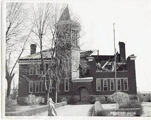 Photo of Newcomerstown East School taken in 1955 after tornado touchdown