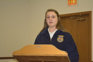 Katie Hardesty recited the FFA Creed at the National Ag Day Luncheon held March 21 at Canal Lewisville United Methodist Church. Josie Sellers | Beacon