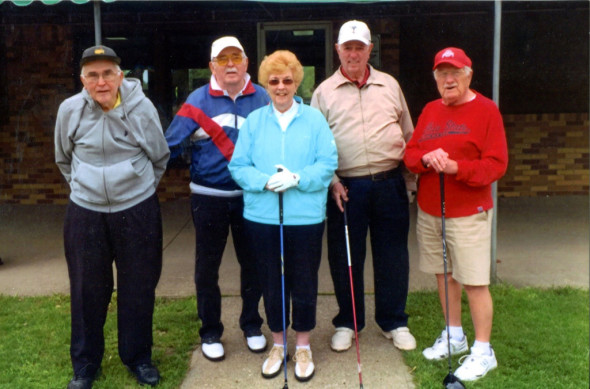 Pictured from l-r: Jim Hamilton, Ron McCann, Joan McNeely, Ken Ramage, and Harry (Dick) Meek.