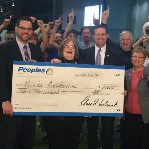 Winner: Kids America was the winning charity in the Peoples Bank Building a Stronger Community - $10K Charity Giveaway. Pictured from left are: Phil Hunt from Peoples Bank, Sue Renner-Miller from Kids America and Todd Brown, who also is from Peoples Bank. Photo contributed to The Beacon