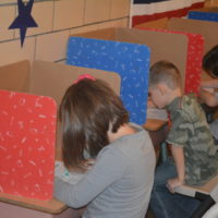 Elementary students participate in mock election