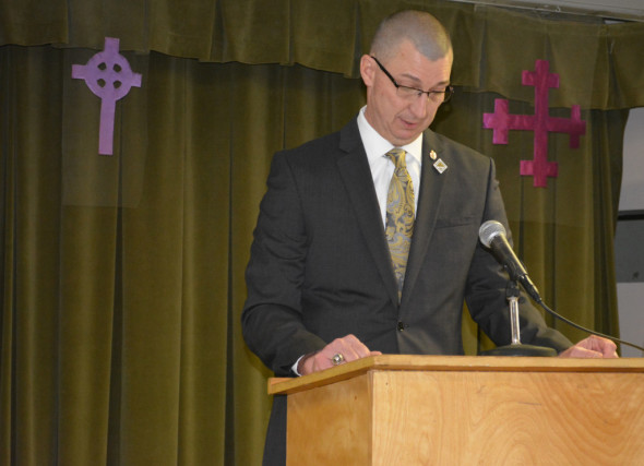 Chuck Rinkes, principal at River View High School, was the guest speaker at the first Lenten Lunch of the season at the Presbyterian Church. BEACON PHOTO BY JOSIE SELLERS