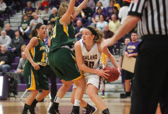 Ashland University sophomore forward Andi Daugherty (30) was named 2016 Great Lakes Intercollegiate Athletic Conference Tournament Most Valuable Player after averaging 15.0 points, 7.7 rebounds, 3.0 assists and 1.7 blocks, and shooting 50.0 percent from the field and 87.5 percent from the free-throw line, in home wins over Northern Michigan, Walsh and Grand Valley State. Photo contributed to The Beacon