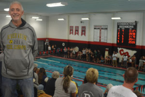 A Swim for Cure meet between River View and Coshocton was held Nov. 29 in honor of Mike Burr. Burr, the boys' varsity soccer coach at River View, was diagnosed with Melanoma during the soccer season.  Josie Sellers | beacon