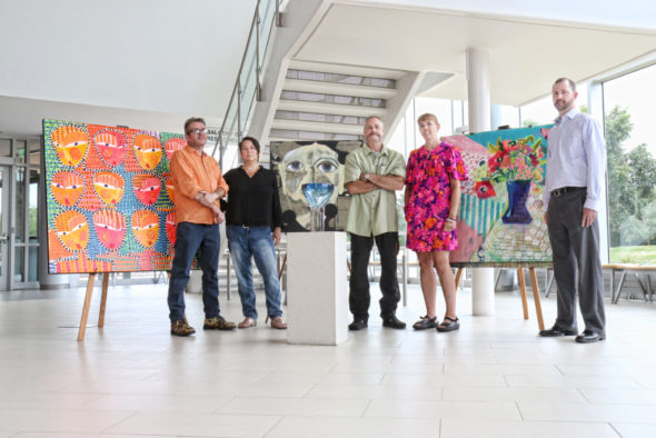 Participating artists in the PAC event program are (l-r): Jon Stucky, Kyle Valentini, Mark J. Sudduth and Sarah Dugger. On the far right is David Mitchell, Performing Arts Center General Manager.