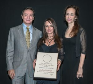 Artist Stephanie Revennaugh (center) received the Marilyn Newmark Memorial Grant from the National Sculpture Society. Pictured with her are Michel Langlais, NSS President and Amy Kann, NSS First Vice President. Contributed   Beacon