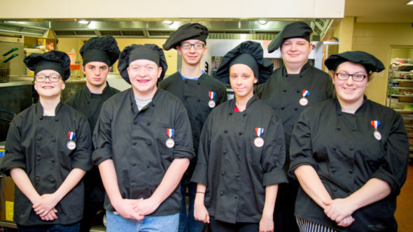 Students from the culinary arts program at the career center participated in the Regional FCCLA Culinary Competition. Pictured are: Front row from left: Alisa Rehard, Kenny Lott, Emily Stotts and Karen Woodby; Back row: Brandon Fyock, Wade Fennel and Austin Rehard.