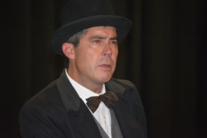 """Jeff Wherley gives the audience an intense look while practicing a scene from """"Jacob Marley's Christmas Carol."""" Josie Sellers 