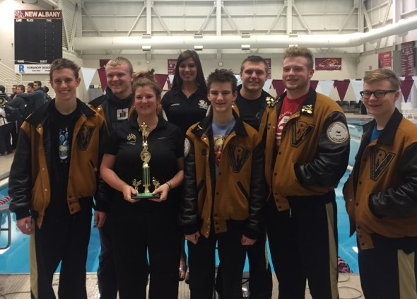 Pictured are members of the River View Black Bears boys swimming team after their competition at New Albany High School on Saturday, Jan. 16. Not pictured are RJ Hammond, Xavier Lewis, Adam Croup, Cole Bennett, and Eric Jacobs.
