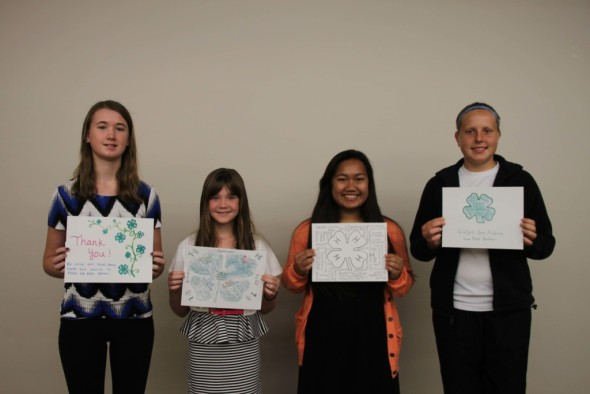 The Coshocton County 4-H Endowment Committee sponsored a Create-A-Card contest this summer. Pictured from left are some of the winners: Catelyn Cox, Abby Cox, Anna Egbert, and Michaela Greten.