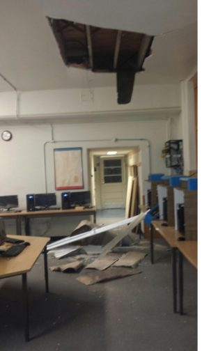 A piece of the ceiling fell down in a computer lab at Conesville Elementary School. Fortunately no one was in the building when it fell and school officials believe no equipment was damaged. Contributed | Beacon