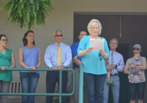 Lori Everhart (center), park director, thanked also those who had a part in making the new bathhouse at the Lake Park Campgrounds possible. Josie Sellers | Beacon