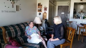 Visit: Pictured are Kaydeane Bias, an Interim Hospice client, visiting with hospice volunteer Mary Green. Photo contributed to The Beacon