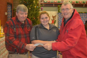 "The Warsaw Lions Club recently made a donation to River View High School FFA to help with its annual ""A Touch of Country Christmas."" Pictured from left are: RVHS teachers Jim Rich and Allyssa McMullen and Bob Buxton from the Lions Club. Josie Sellers 