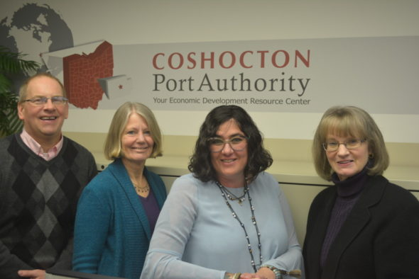 Coshocton Port Authority Grants from funds established by the Schooler Family Foundation were distributed to three different organizations on Feb. 15 by Port Authority Executive Director Dorothy Skowrunski. Pictured from left are: Mark Fortune from The Coshocton County Beacon; Patti Malenke, from the Johnson-Humrickhouse Museum; Michelle Turner-Ganz from Our Town Coshocton; and Skowrunski. Josie Sellers | Beacon