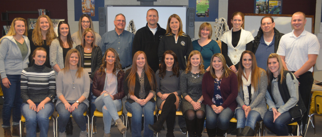 Athletes, coaches and even the water boy and girl from River View High School's 2006 and 2007 Division II Girls State Championship teams gathered for a reunion Jan. 6 at the school.  Josie Sellers | Beacon