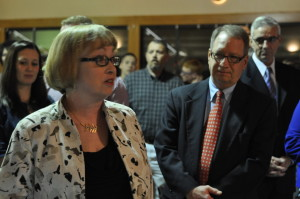 Coshoctonian: Kathy Thompson is pictured addressing the audience after being named the 2016 Coshoctonian. Standing to her right is her husband Scott Thompson. Kathy has served the community in a number of areas with her last position before retirement being director of the Coshocton Foundation. Beacon photo by Mark Fortune