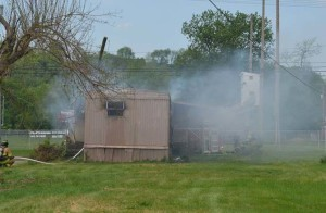 Smoke rolled out of Carolyn White's trailer on May 11, when it caught on fire. White lost everything in the fire and anyone interested in helping her is encouraged to call The Salvation Army at 740-622-0971 or Red Cross Volunteer Sher Alloway at 740- 202-0898.