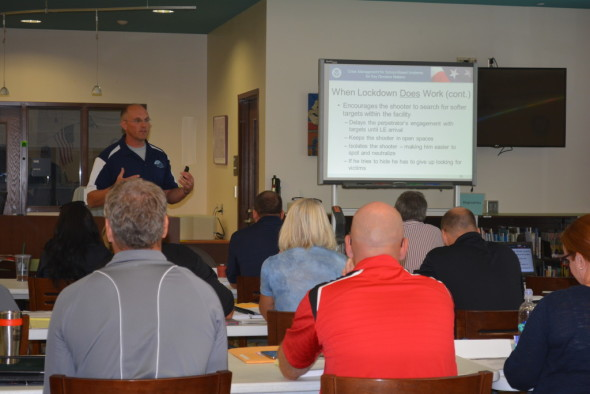 Pictured here is Bill Titley presenting part of the MGT 417 Crisis Management training during Coshocton City School's two-day training workshop on Thursday, Aug. 6 and Friday, Aug. 7.
