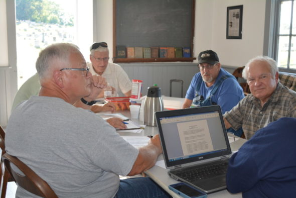Franklin Township Board of Trustees honored their past by meeting at the old East Franklin Township Building on SR 83 South for their July 25 meeting.