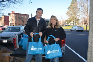Michele Shirer, pictured right, has been donating turkeys and hams to Shepherd's Christian Assembly for many years. This year, she donated 100 turkeys, which went to employees of WestRock for Thanksgiving. Shirer is pictured here with John Cullison, chief steward of WestRock.