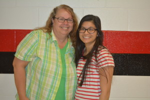 Jacqueline Roman, a graduate of Coshocton High School, received the national Coca-Cola Scholars Foundation scholarship. She is pictured here with Myrtle Beall, who Roman chose to receive the Educator with Distinction award.