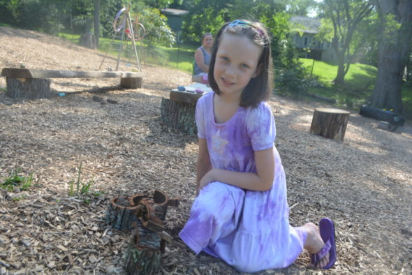 Aryanna Poorman, age 6, spent Saturday morning playing in the children's garden at Clary Gardens. The children's garden opened to the public at 10 a.m. on Saturday, June 17.