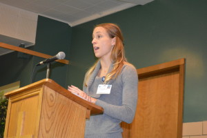 Speaker: Coshocton Hospital Registered Dietitian Jenny Provo spoke to Coshocton BPW members on Feb. 15 about how to build healthy snacks. Beacon photo by Beth Scott