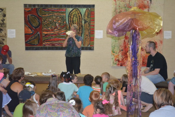 Kids ages 2 – 5 are encouraged to come to the museum each Tuesday in July to take a journey to magical places. On Tuesday, July 7, they journeyed under the sea.