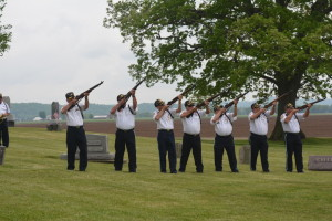 GUN SALUTE: The Newcomerstown Veterans Organization performed a gun salute at Waggoner Cemetery's Memorial Day services on Saturday, May 16. BEACON PHOTO BY BETH SCOTT