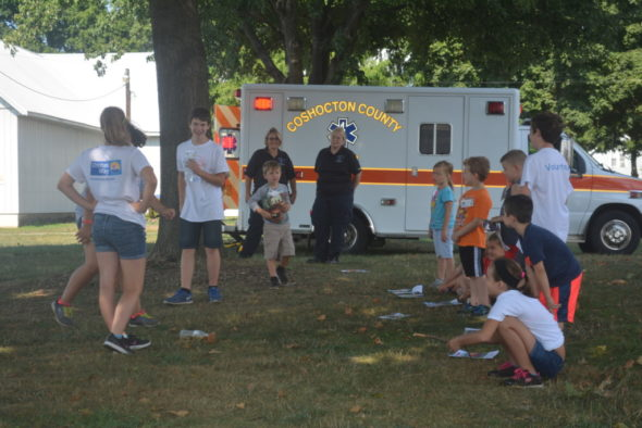 Kindergarteners at Safety City participate in EMS day on Friday, Aug. 5. They were able to tour the truck and learn about some of the equipment first responders use in an emergency situation. Beth Scott | Beacon