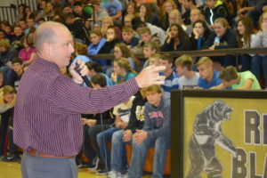 Brad Baker was the auctioneer for the annual United Way auction at River View on Wednesday, Oct. 12. The auction is held every year as part of the school's spirit week.