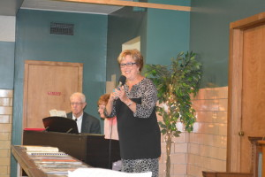 """SONG: Ruth Edwards ended the anniversary celebration with a performance of, """"Because He Lives"""" with Jan Coffman accompanying her on the piano. Grace United Methodist Church is celebrating its 175th anniversary in Coshocton. BEACON PHOTO BY BETH SCOTT"""