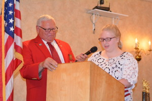 "Morgaan Kelton read her winning essay on ""What the Pledge of Allegiance Means to Me"" at the Elks awards banquet on Thursday, May 7."