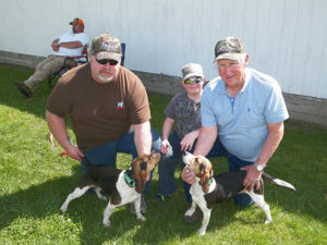 Jen Jones | Beacon Mark Rockwell, Seth McCloud and Dave Miller traveled from Michigan with Legacy and Dream to compete in the UKC Beagle National Event held April 14-16 at the Coshocton County Fairgrounds. Jen Jones | Beacon