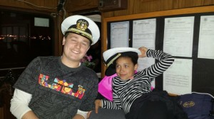 Katie's children Griffin and Alona goof around while visiting her on the Nautica Queen. Photo contributed to The Beacon