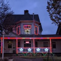 Christmas lights set to music on North Fourth Street