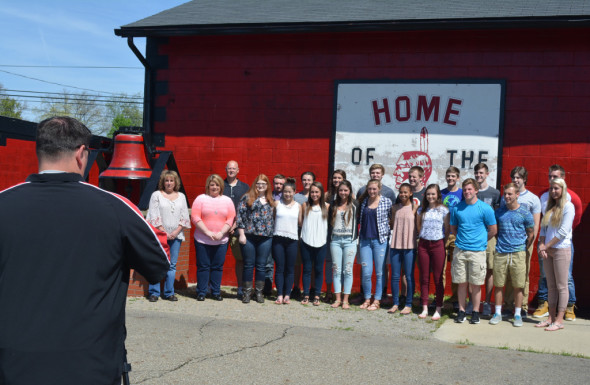 Video: Matt Hartmeyer, Prom Promise advisor at CHS, is pictured taking a group photo of everyone who helped film a video to encourage students to make positive decisions. The video was inspired by a 1990 accident that killed Bobby Baird who graduated in 1986. The other three people in the car with him have children who are classmates at CHS. Beacon photo by Josie Sellers
